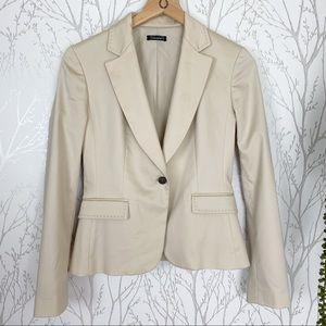 Tahari Tan 1-Button Suit Jacket Contrast Stitching